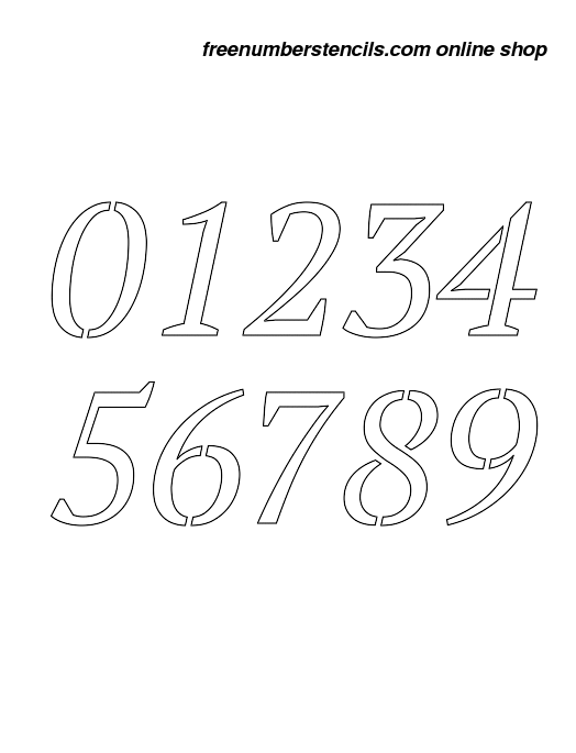 12 Inch Bold & Italic Italic Number Stencils 0 to 9