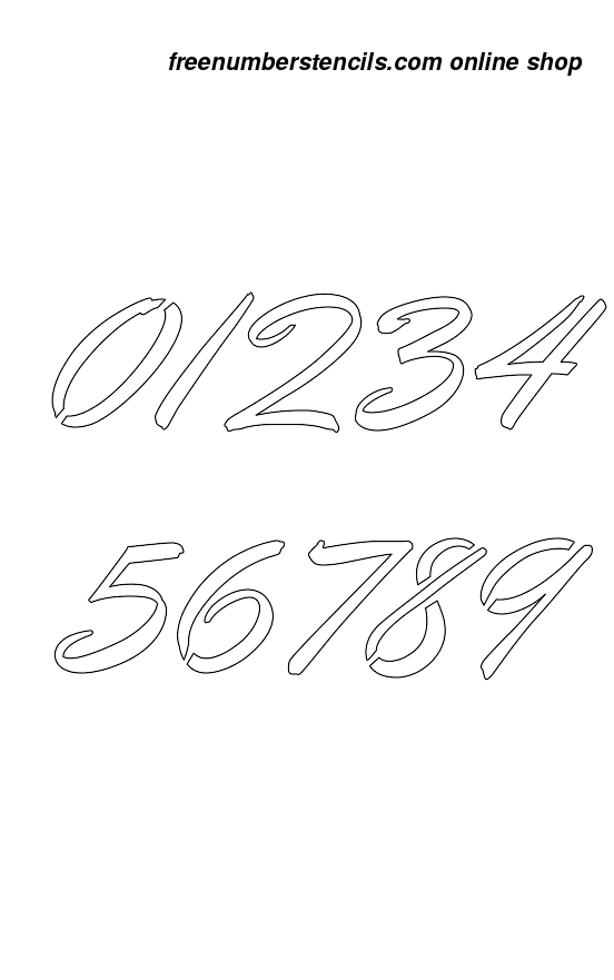 Inch cartoon calligraphy style number