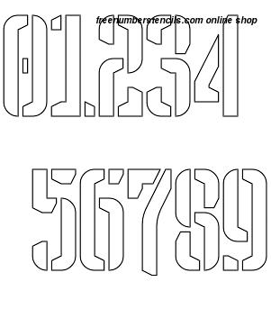 1 Inch Modern Sci Fi Modern Number Stencils 0 To 9 Freenumberstencils Com