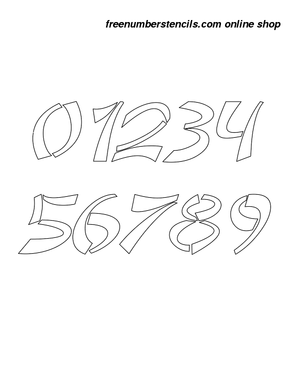 1 Inch Asian & Italic Italic Number Stencils 0 to 9