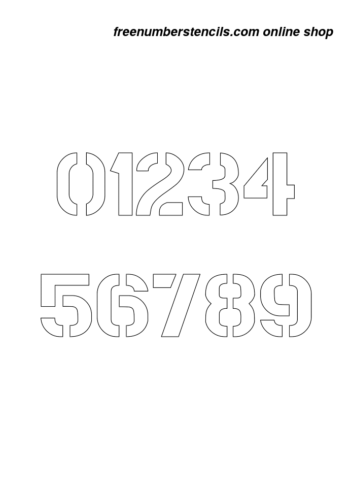 2 Inch Bold Army Army Number Stencils 0 To 9 Freenumberstencils Com