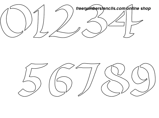 image relating to Free Printable Number Stencils titled 3 Inch Stylish Calligraphy Calligraphy Layout Range Stencils 0 towards 9