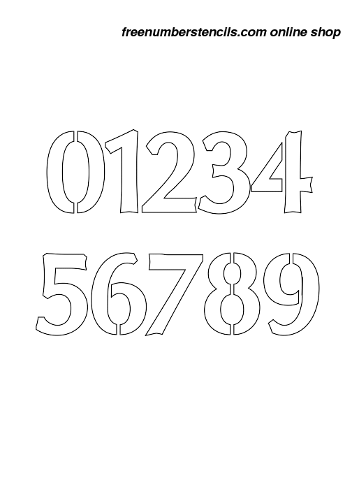 graphic regarding 3 Inch Number Stencils Printable Free referred to as 3 Inch Headline Sans Formidable Exquisite Variety Stencils 0 in direction of 9