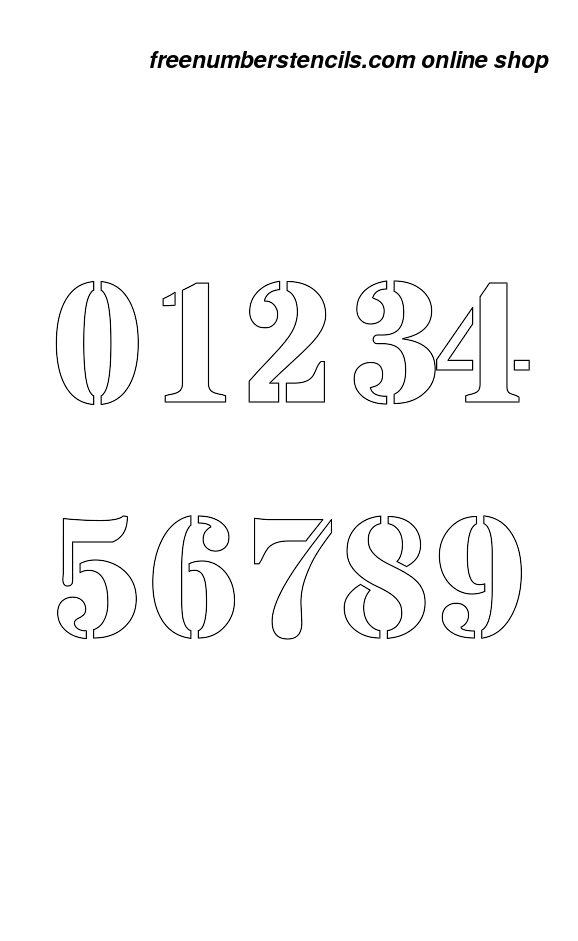 image relating to 3 Inch Number Stencils Printable Free called 3 Inch Ambitious Serif Formidable Range Stencils 0 in the direction of 9