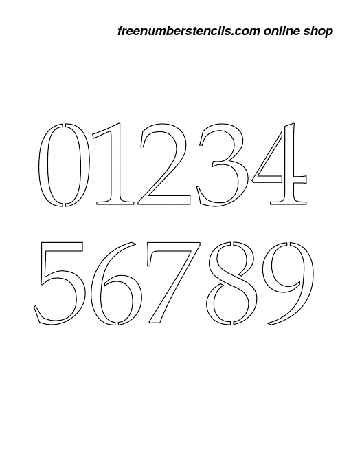 picture relating to Free Printable 4 Inch Number Stencils referred to as 4 Inch 90s Classy Classy Quantity Stencils 0 in direction of 9