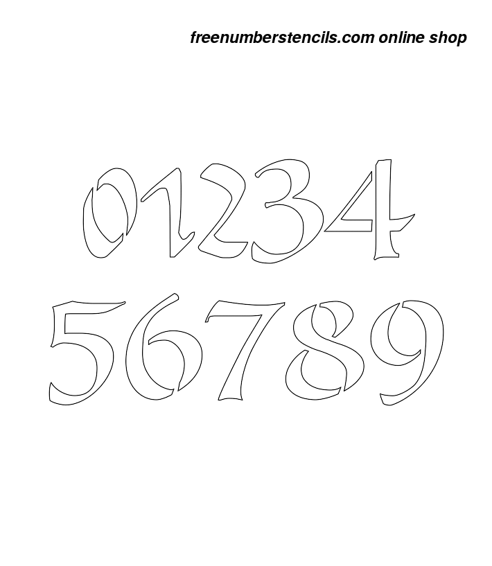 image about Free Printable 4 Inch Number Stencils known as 4 Inch Roman Calligraphy Calligraphy Style and design Range Stencils 0 towards 9