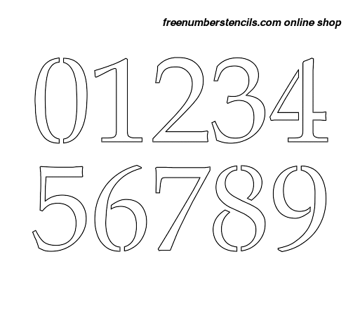 image relating to Free Printable 4 Inch Number Stencils named 4 Inch French Show Sophisticated Selection Stencils 0 toward 9