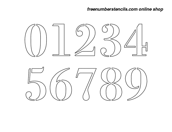 photo regarding Free Printable Number Stencils known as 5 Inch 1700s Elegant Stylish Range Stencils 0 towards 9