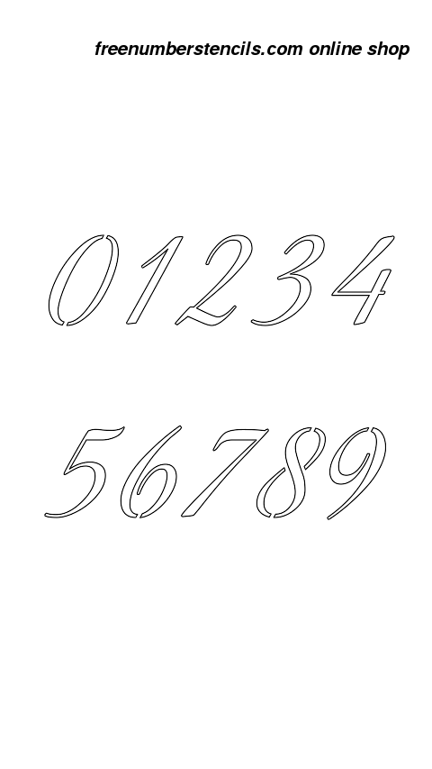 You Can Download A Free Printable Copy Of Stylish Calligraphy Number Stencil Design Here