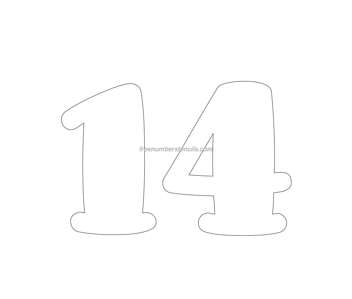 Free Comic 14 Number Stencil Freenumberstencils Com