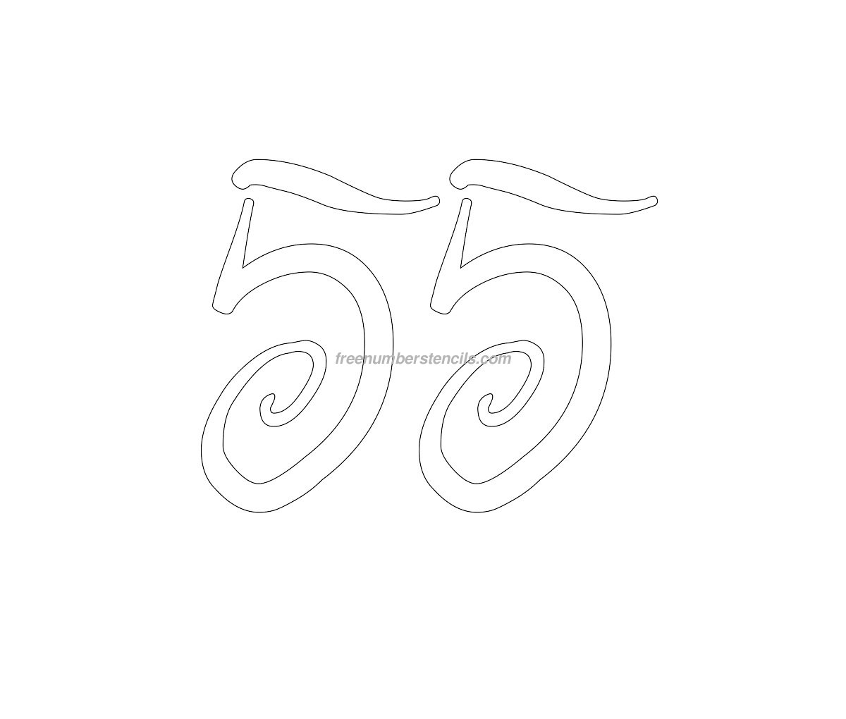 stencil-curly-number-55