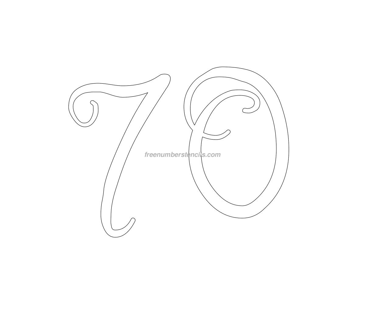stencil-curly-number-70