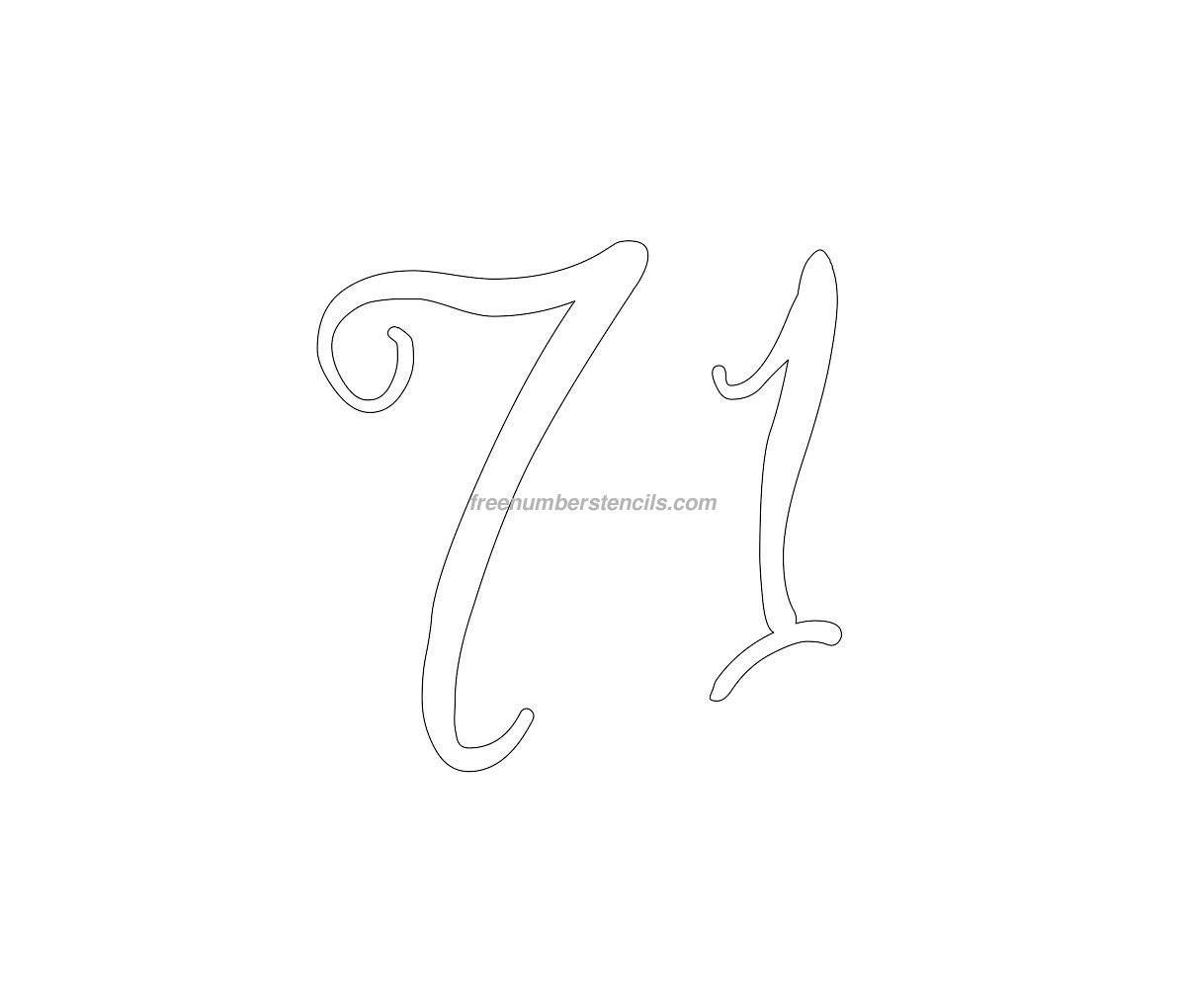 stencil-curly-number-71