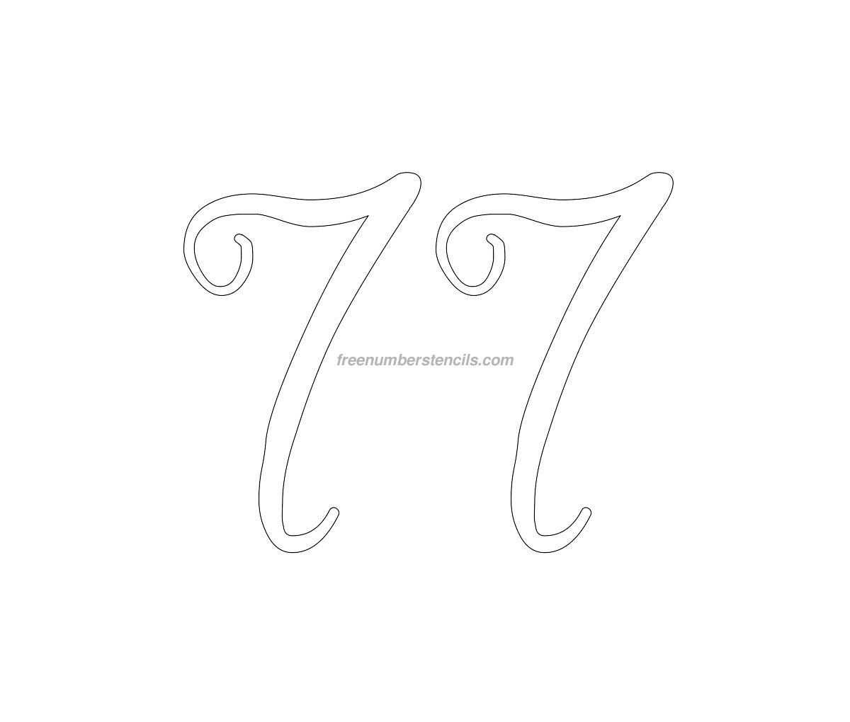 stencil-curly-number-77