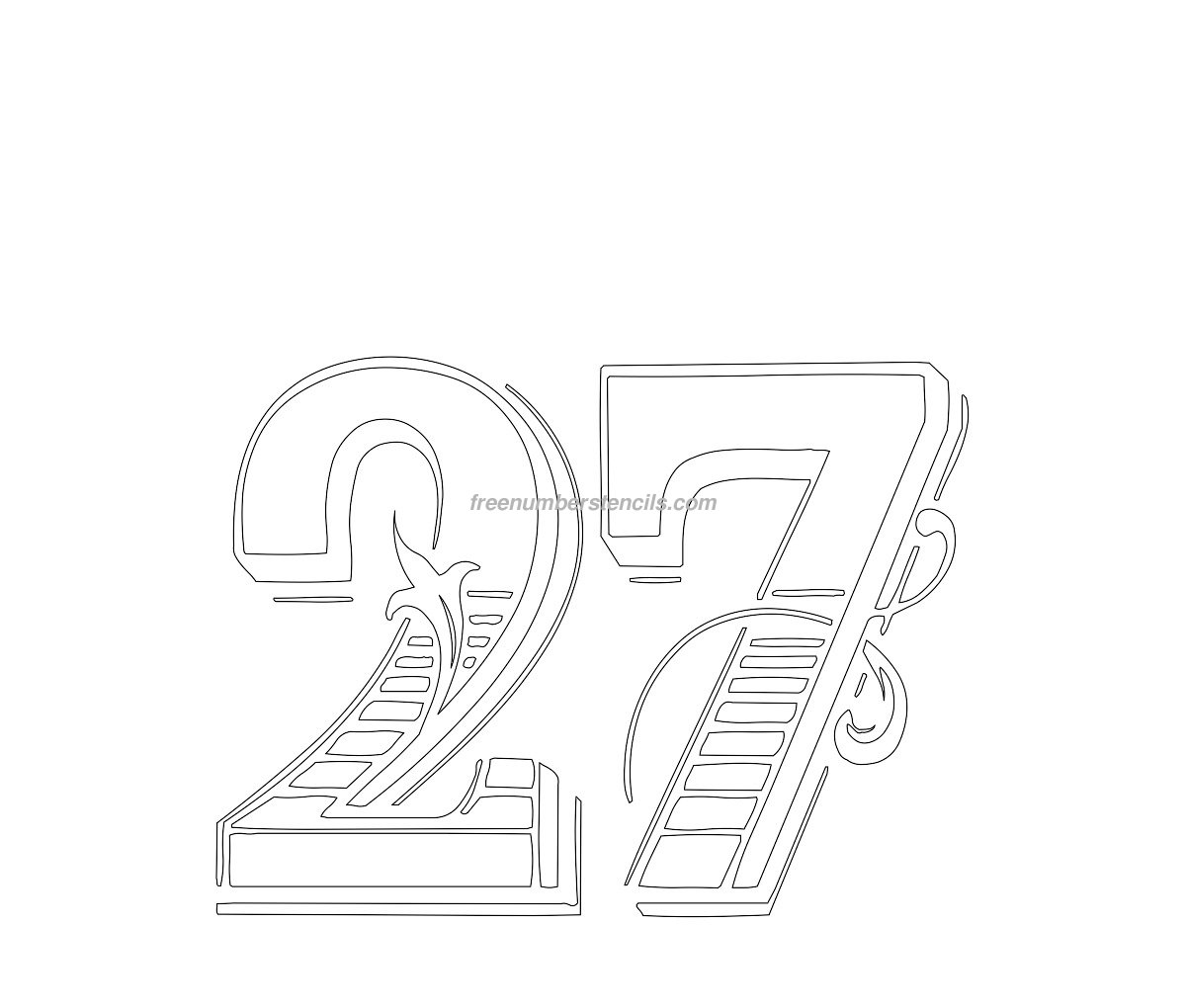 Free Decorative 27 Number Stencil