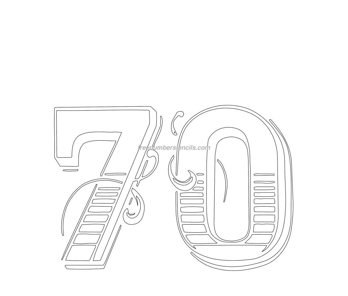 free decorative 70 number stencil