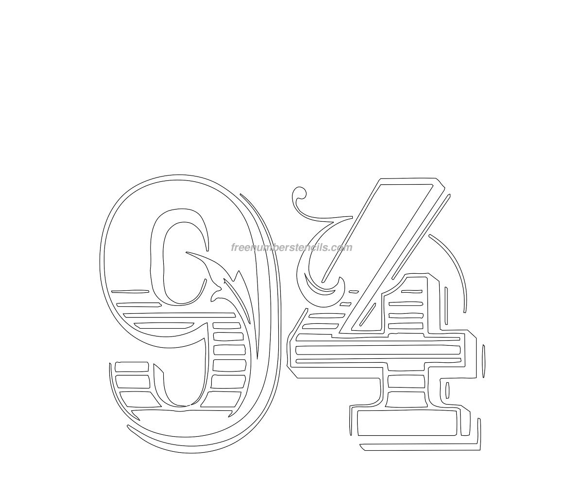 Print Decorative #94 number stencil template