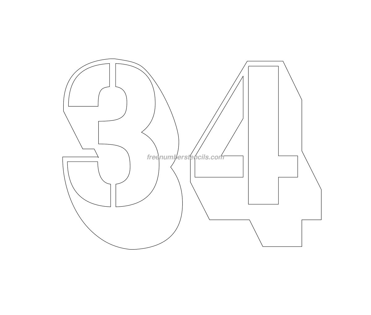 Free Engraving 34 Number Stencil