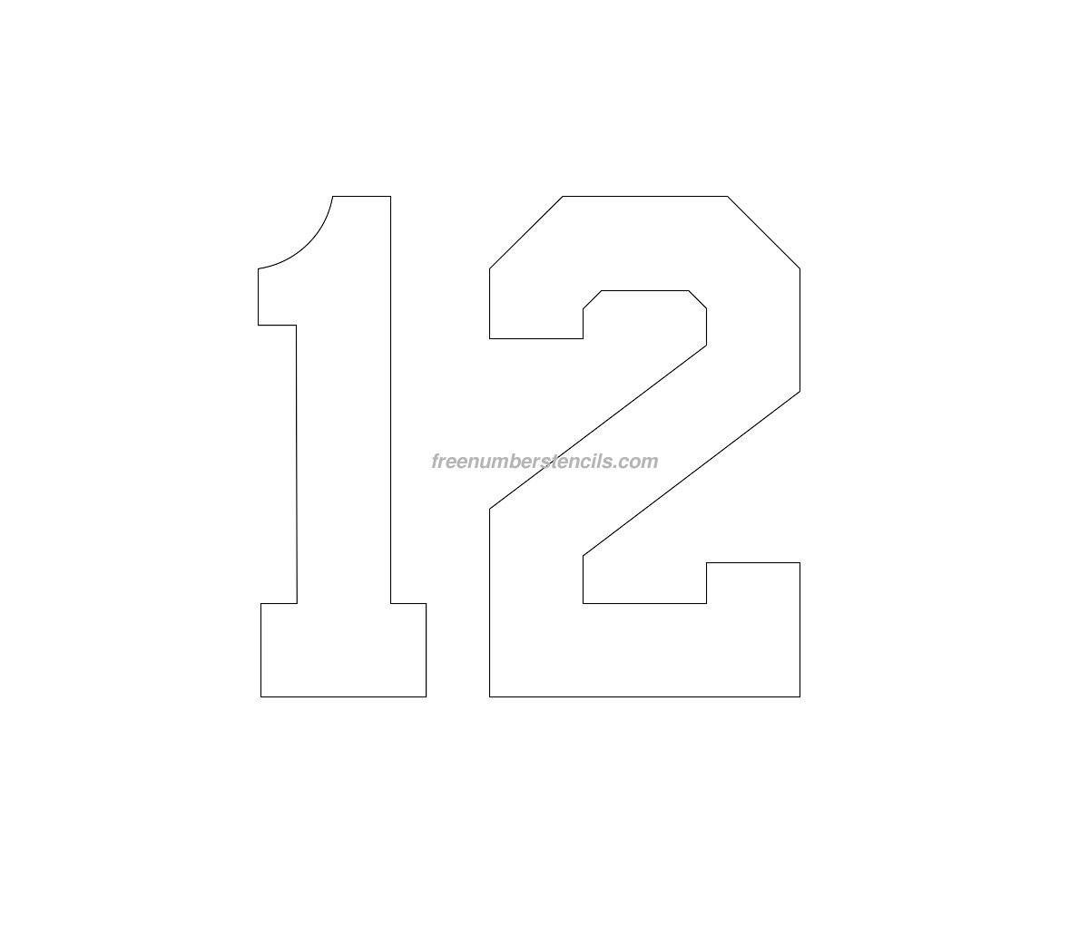 free football 12 number stencil