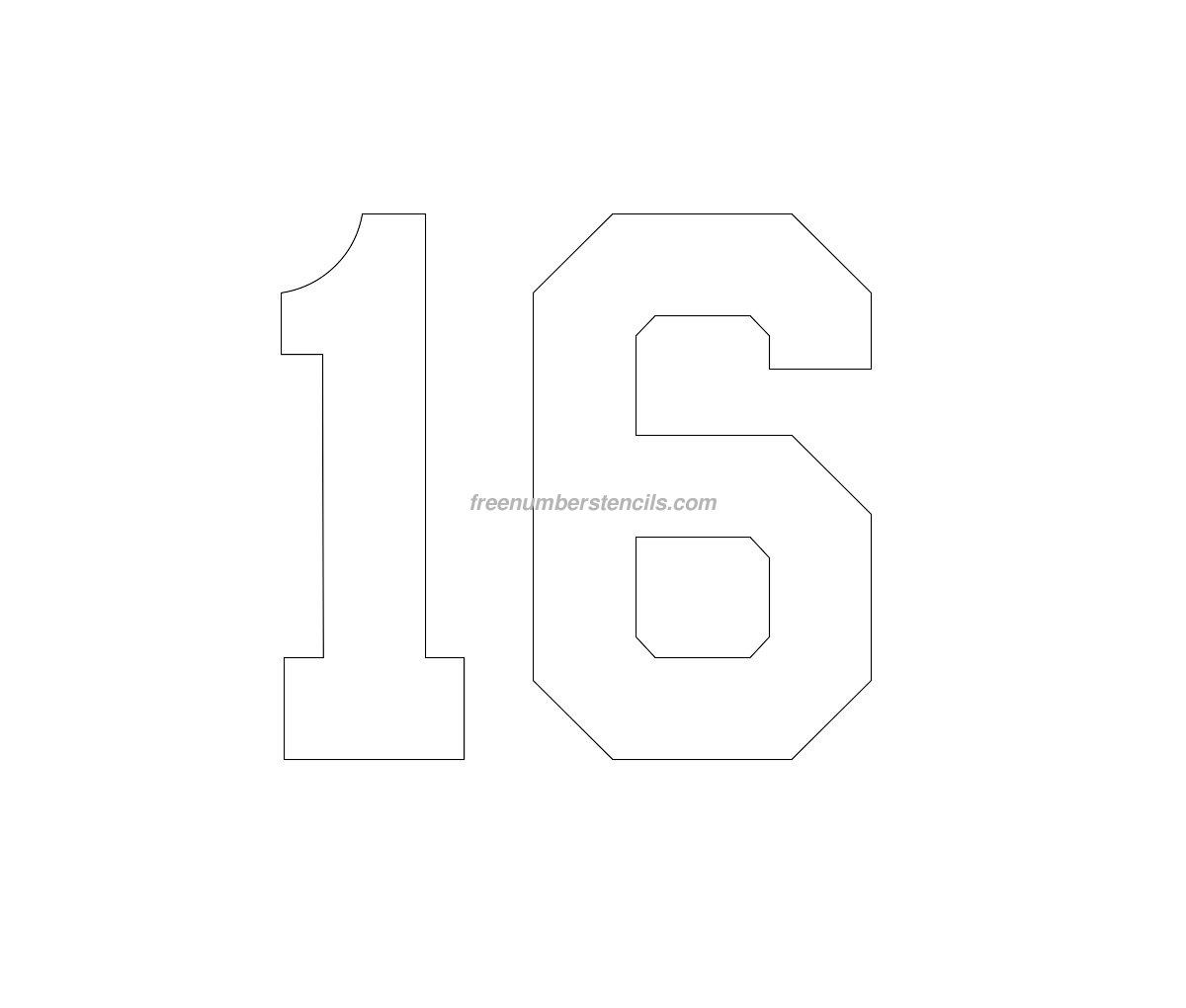 free numbers templates - free football 16 number stencil