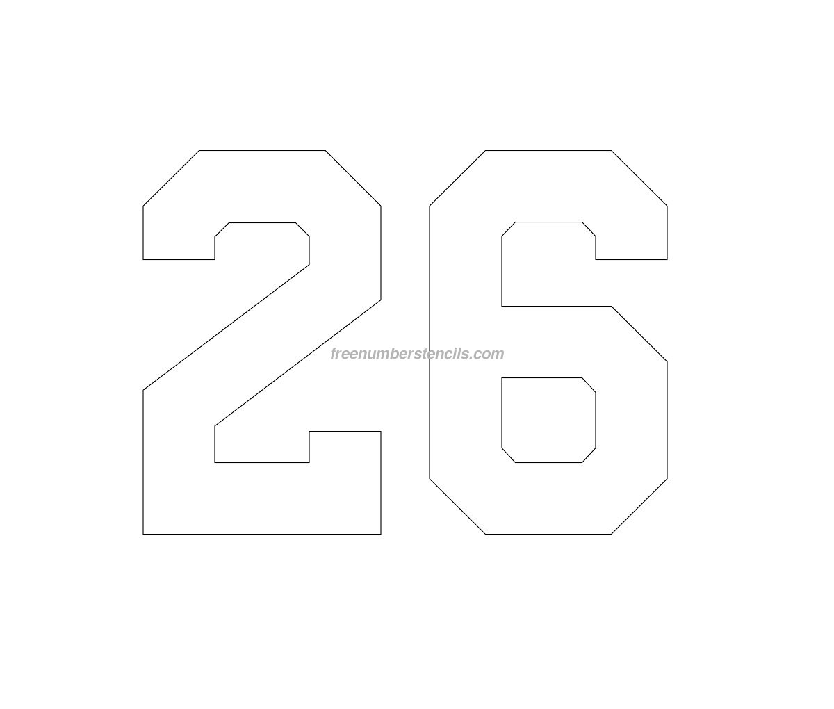 free football 26 number stencil