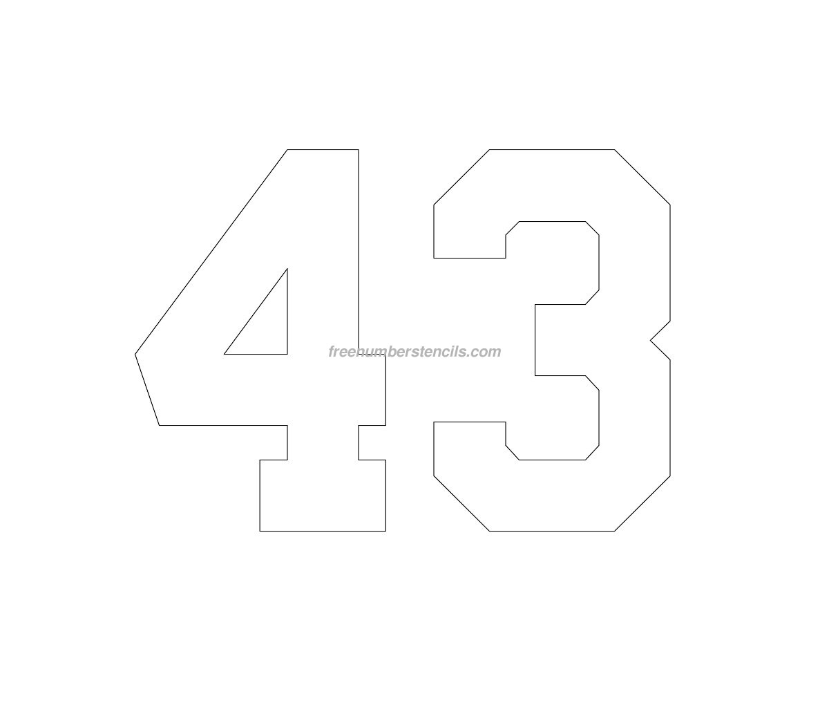 number-43 Varsity Letter Stencil Template on cupcake stencil template, gypsy stencil template, christmas stencil template,