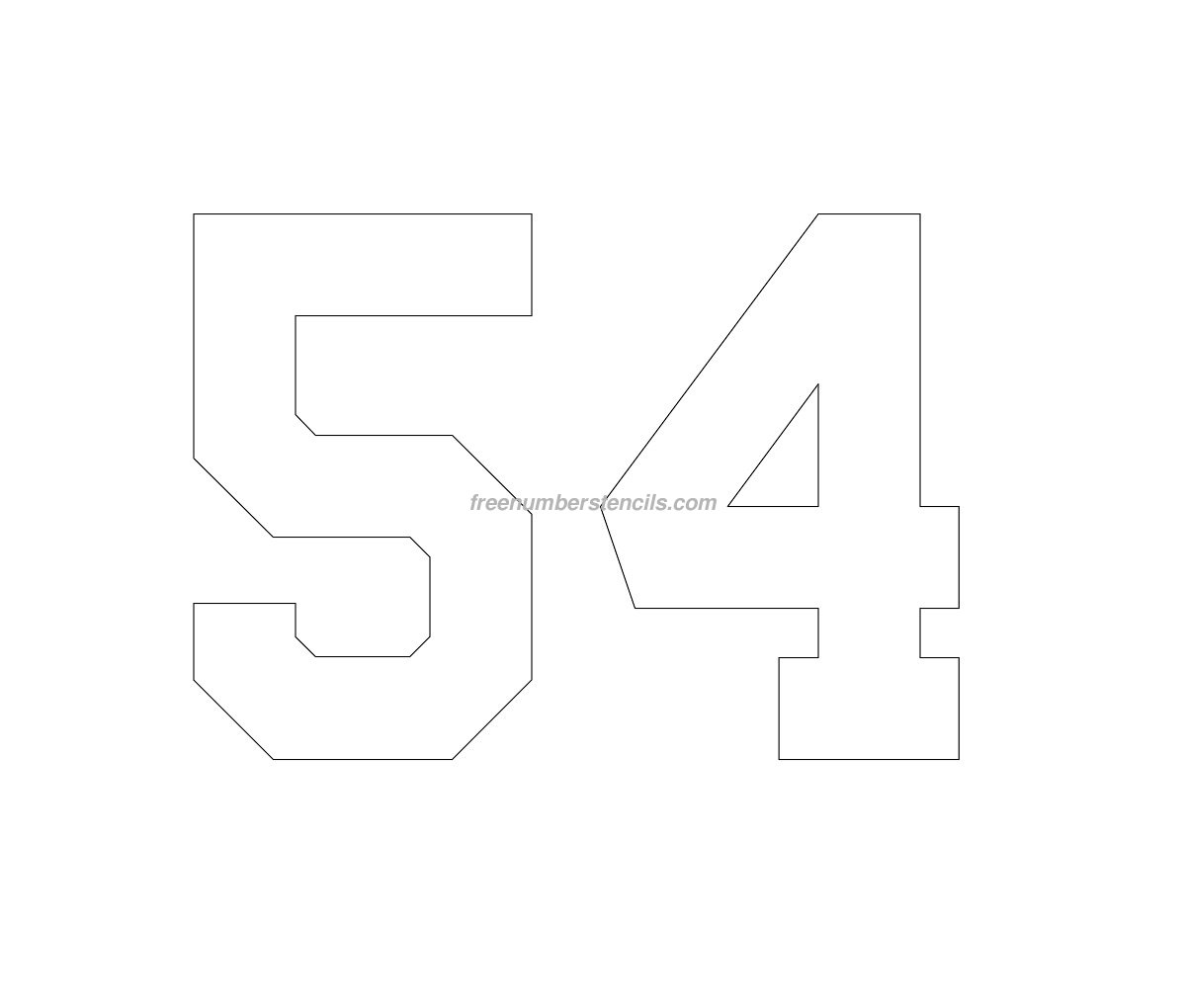 free football 54 number stencil