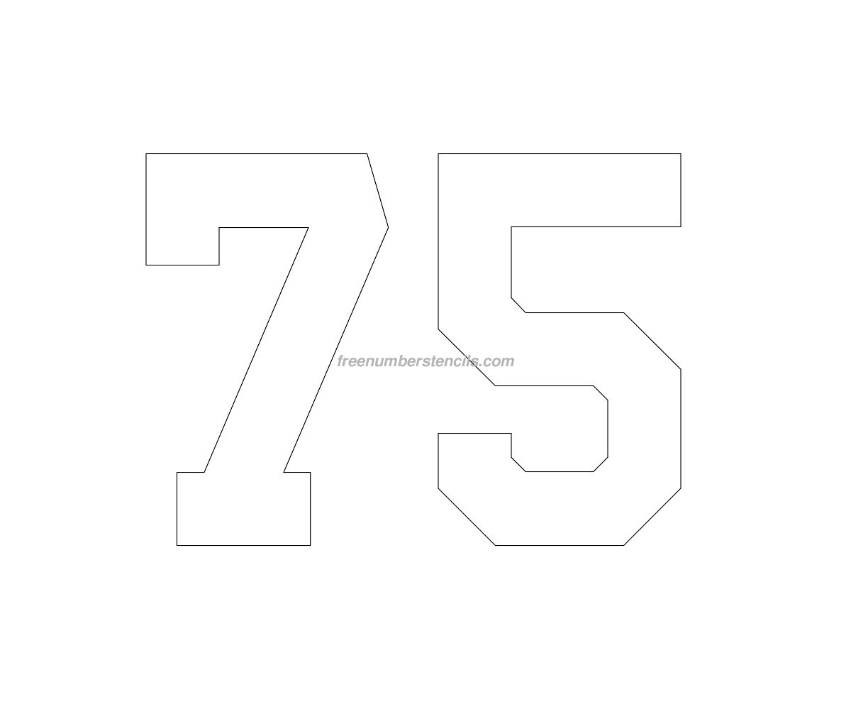 free football 75 number stencil