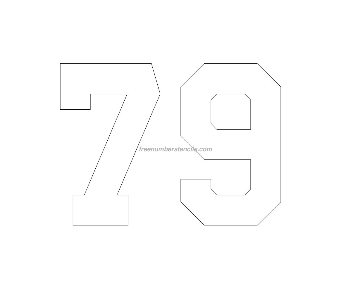 Free Football 79 Number Stencil - Freenumberstencils.com