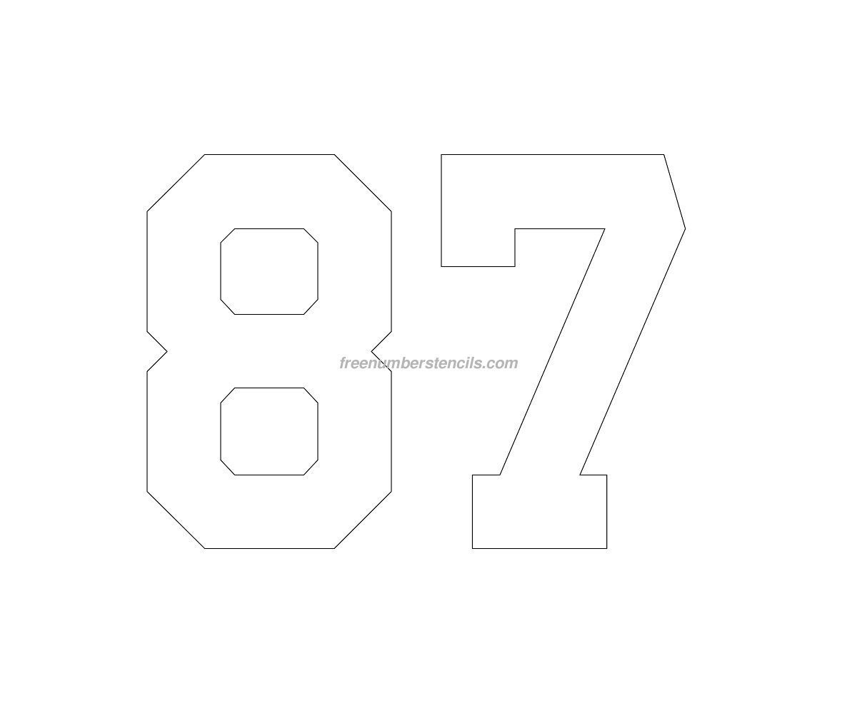 number_87 Varsity Letter Stencil Template on cupcake stencil template, gypsy stencil template, christmas stencil template,