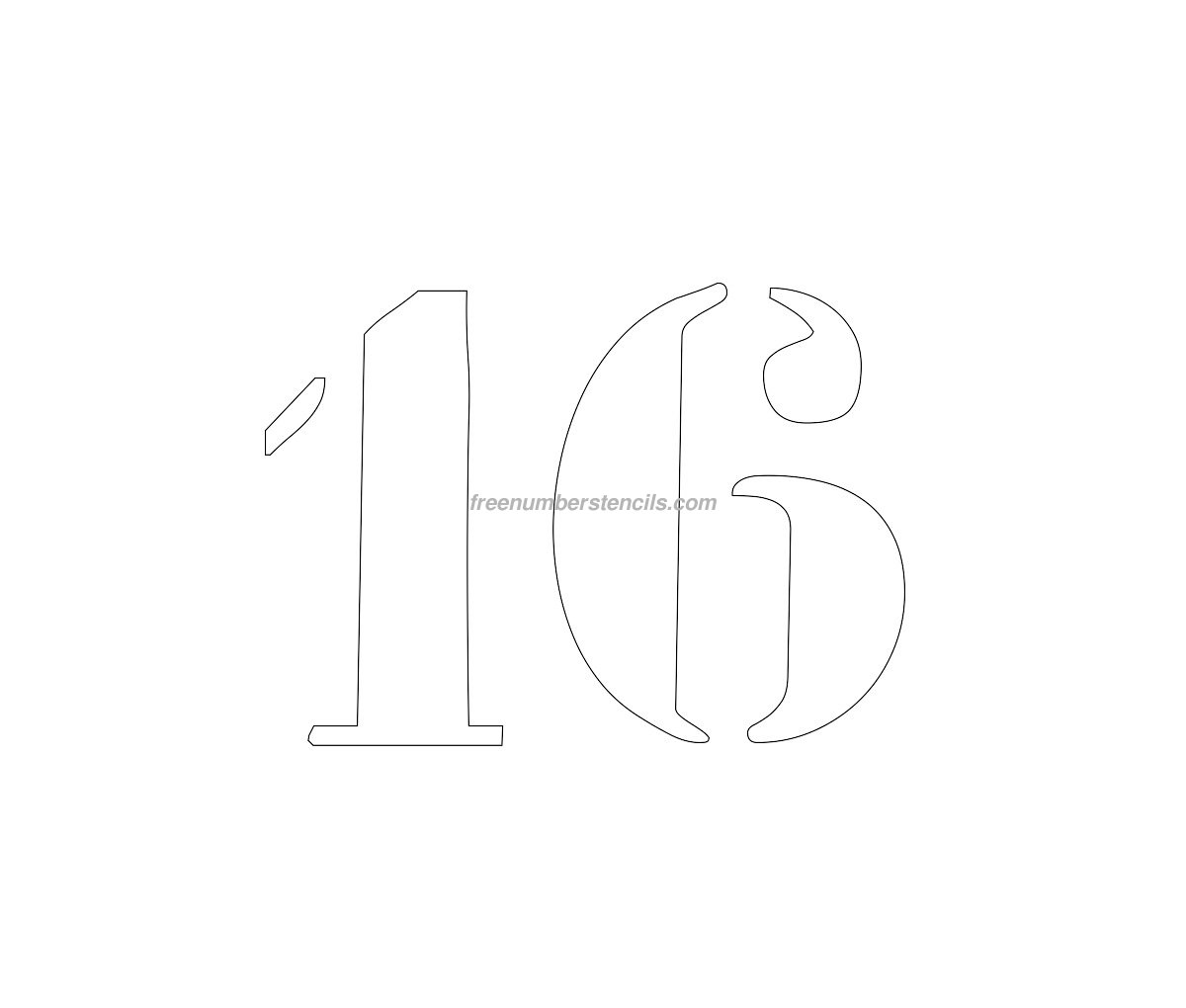 Free curb painting 16 number stencil for Printable stencils for canvas painting