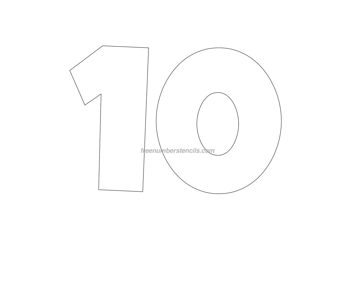 Free giant 10 number stencil for Free numbers templates