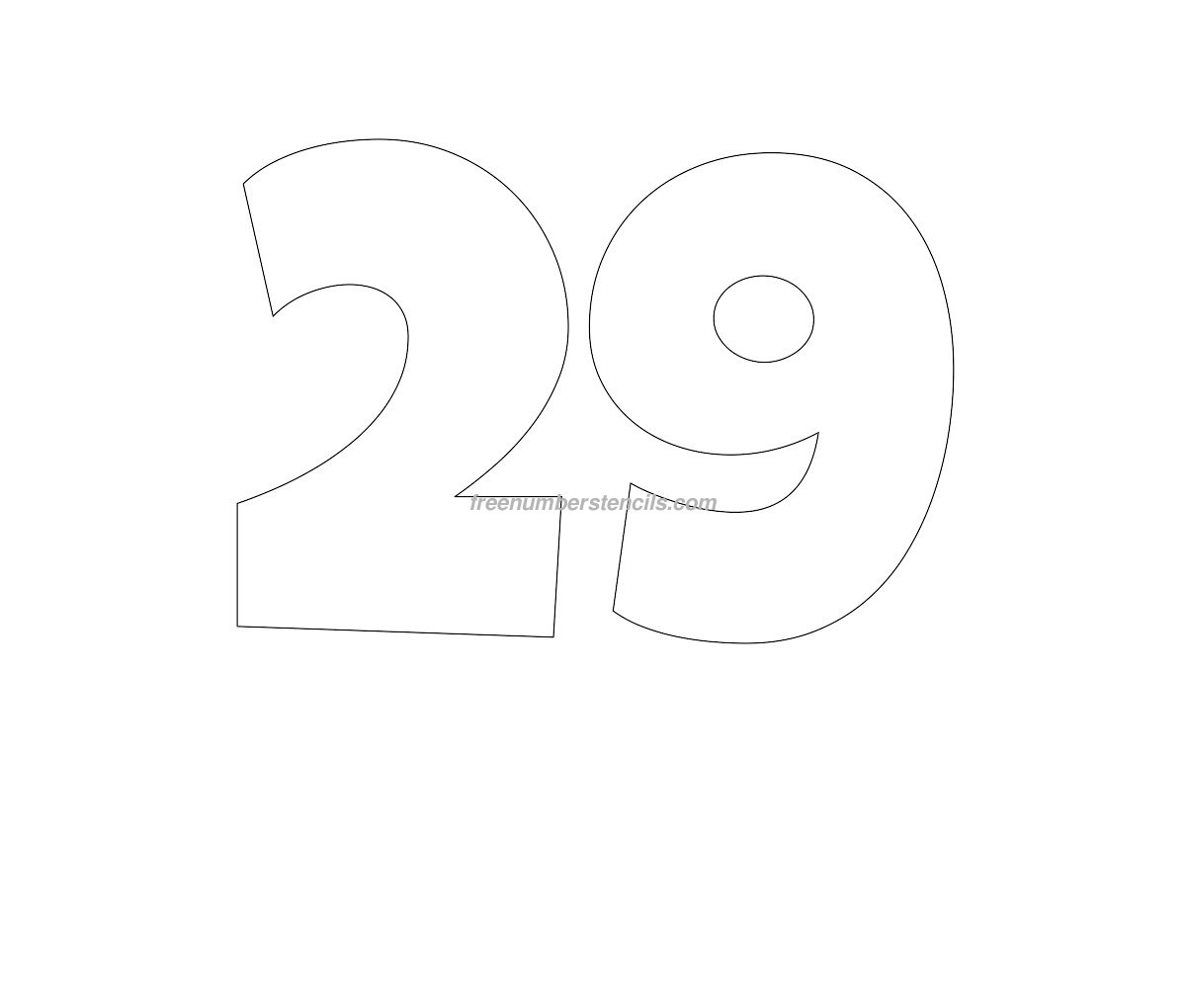 Free Giant 29 Number Stencil - Freenumberstencils.com