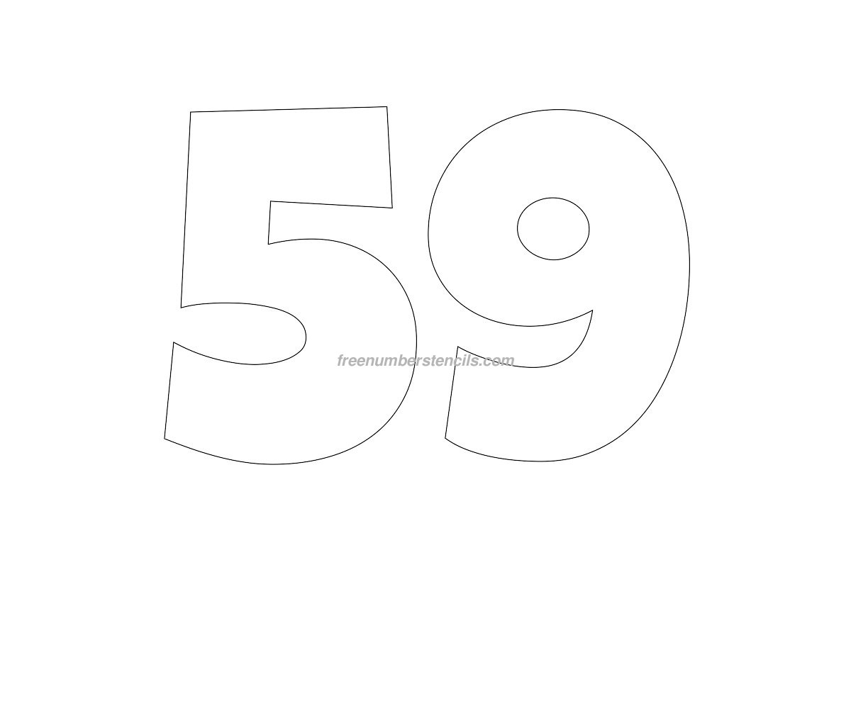 Free Giant 59 Number Stencil