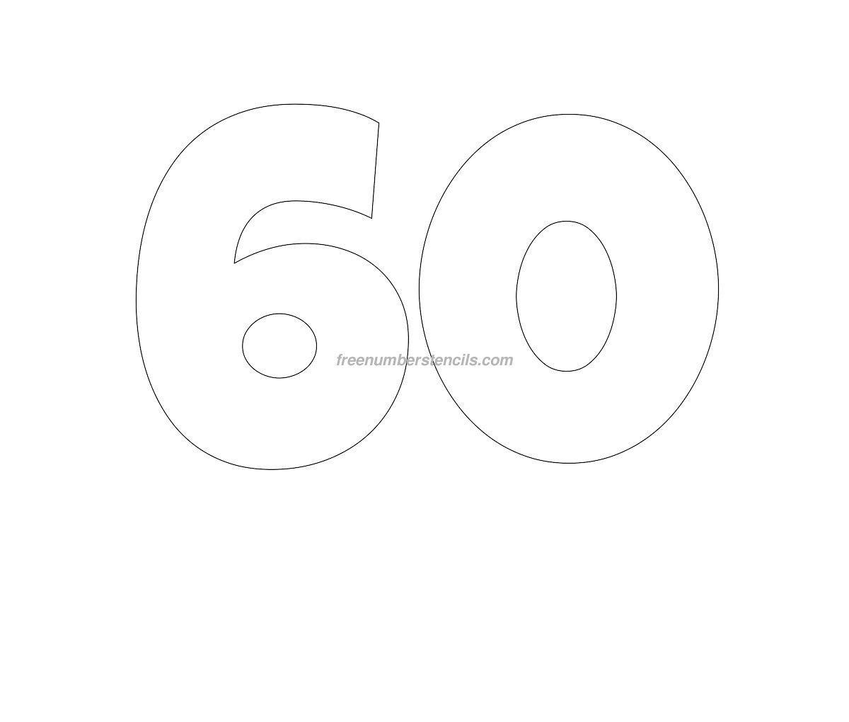 Free Giant 60 Number Stencil Freenumberstencils – Number Template