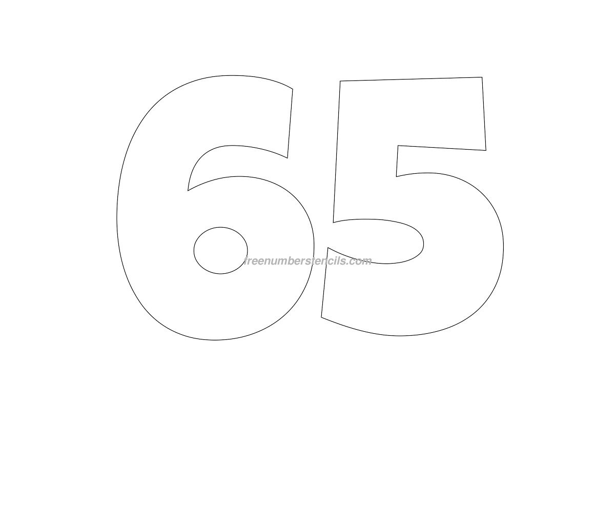 Free Giant 65 Number Stencil - Freenumberstencils.com