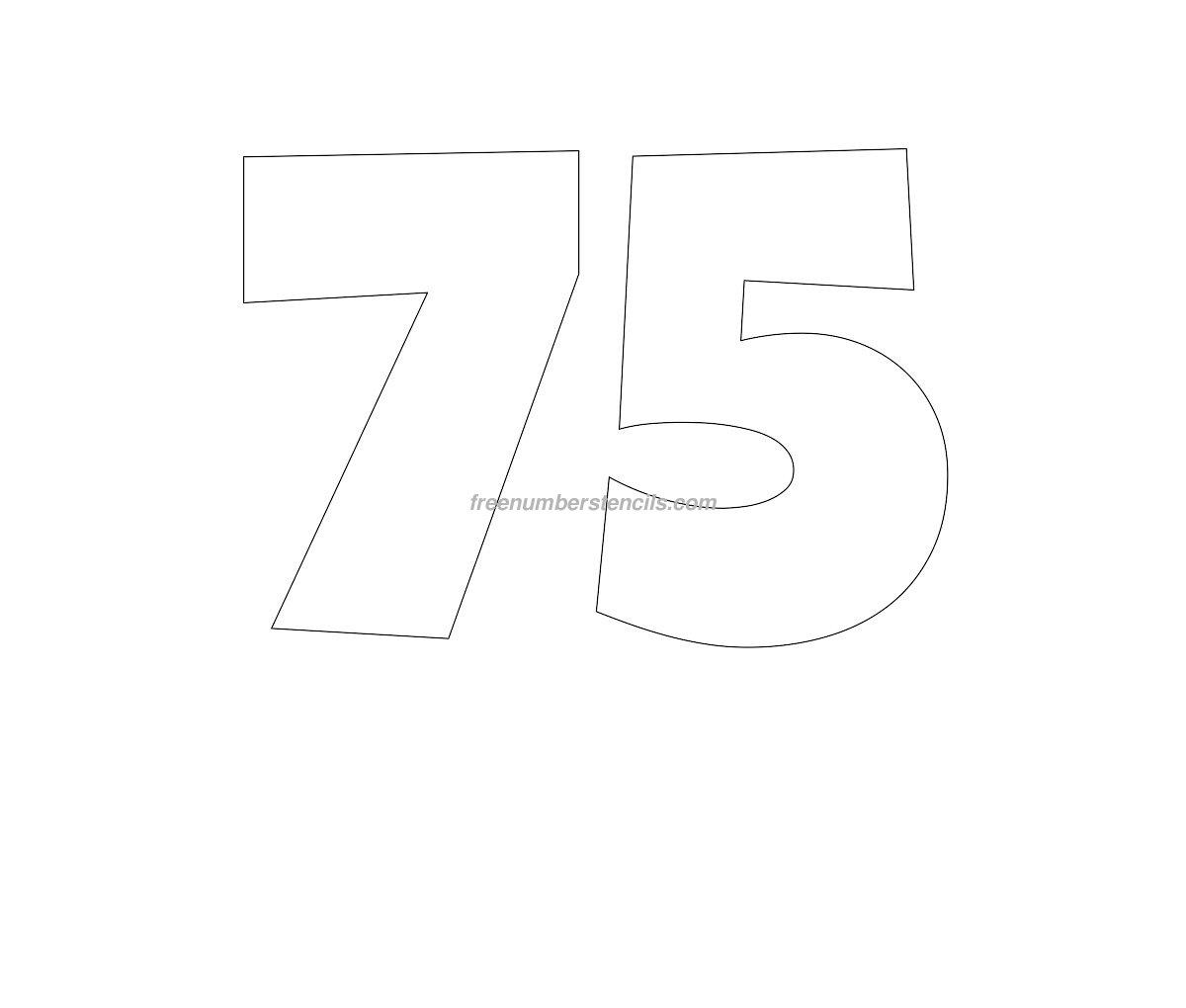 Free Giant 75 Number Stencil - Freenumberstencils.com