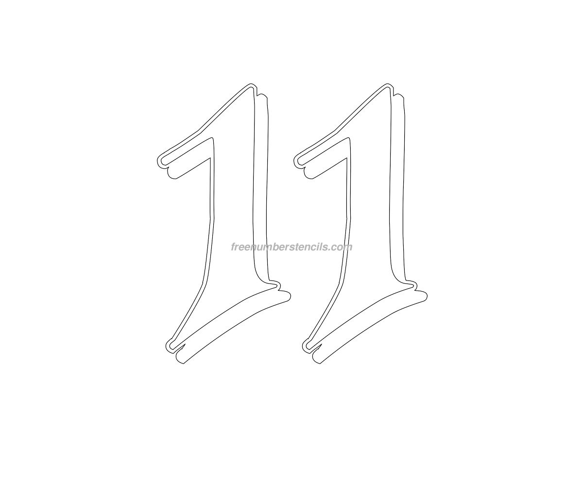 Print Gothic 11 Number Stencil Template
