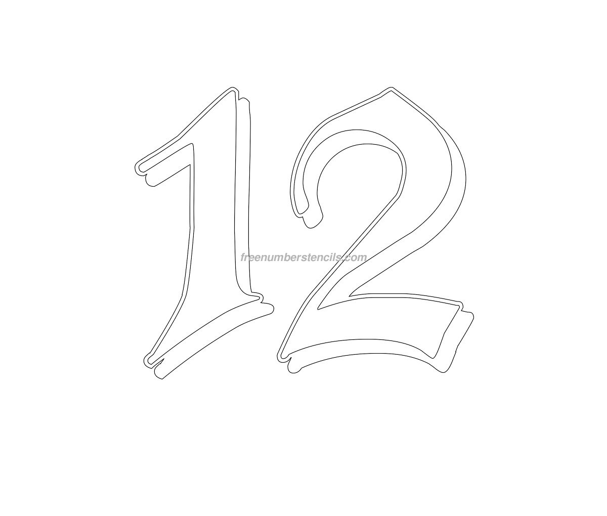 Free Gothic 12 Number Stencil