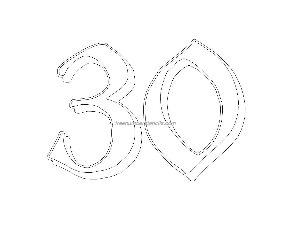 Free Gothic 30 Number Stencil - Freenumberstencils.com