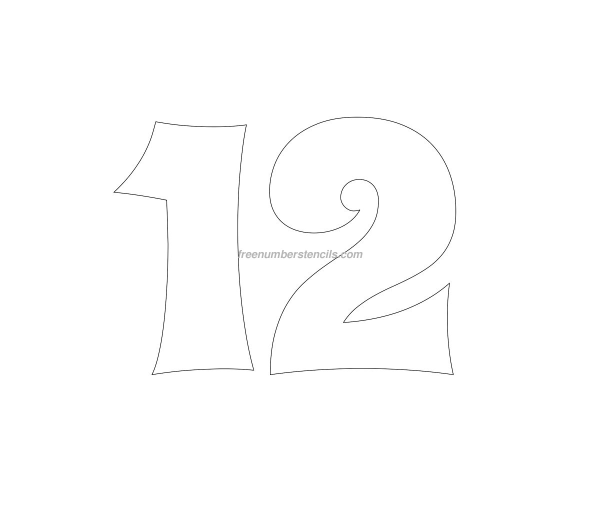 Free Groovy 12 Number Stencil
