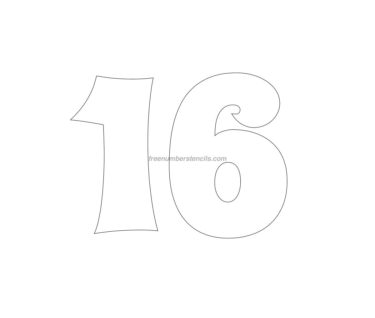 Free groovy 16 number stencil for Free numbers templates
