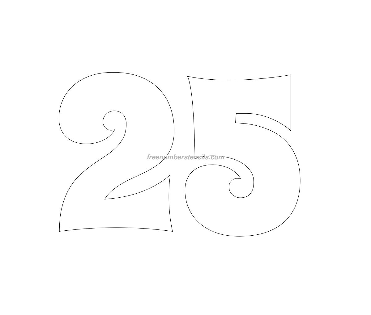 Free groovy 25 number stencil for Free numbers templates