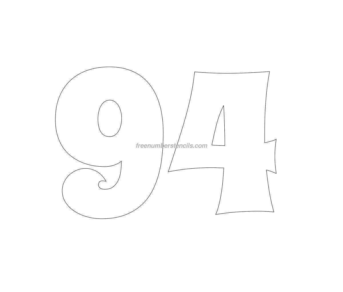 Free Groovy 94 Number Stencil Freenumberstencils Com