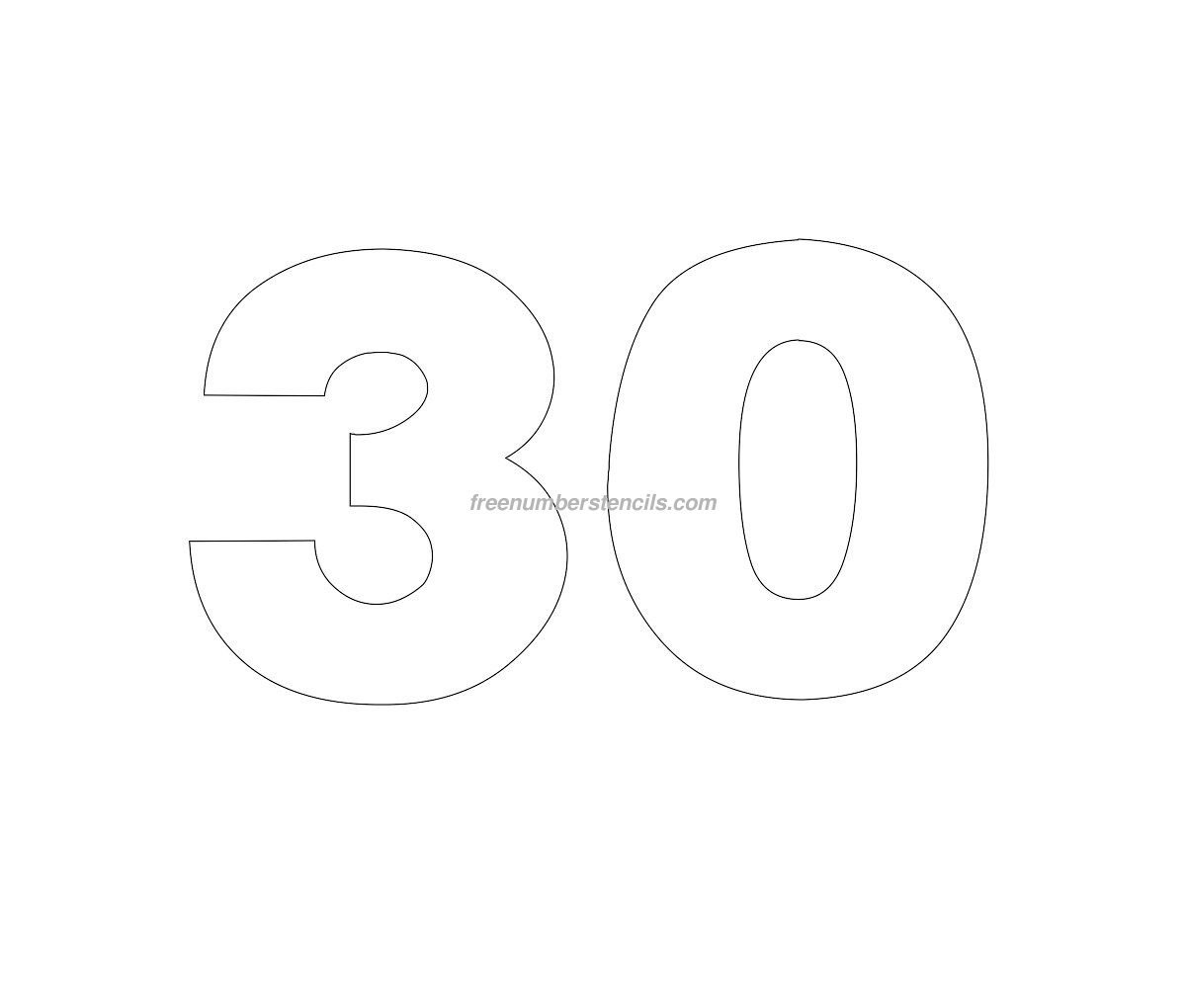 free numbers templates - free helvetica 30 number stencil