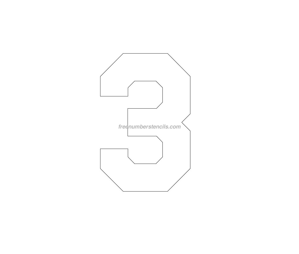 Free Hockey 3 Number Stencil