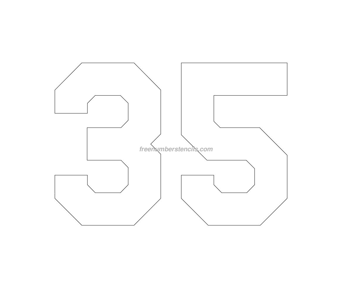 free hockey 35 number stencil