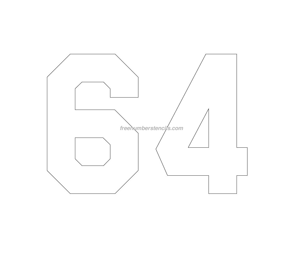 Free Hockey 64 Number Stencil - Freenumberstencils.com