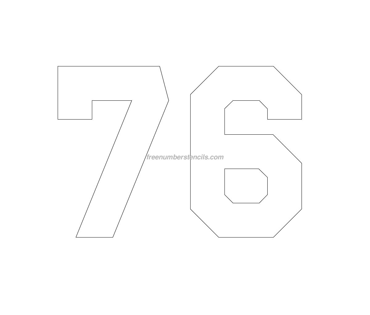 Free Hockey 76 Number Stencil