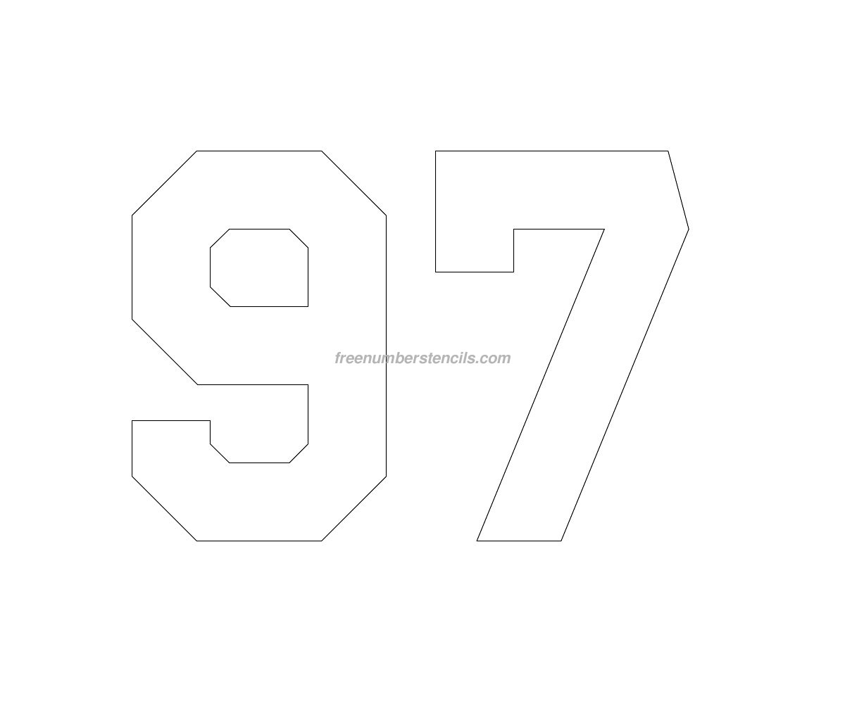 Free Hockey 97 Number Stencil